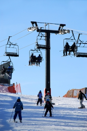 Skiing ski lifts