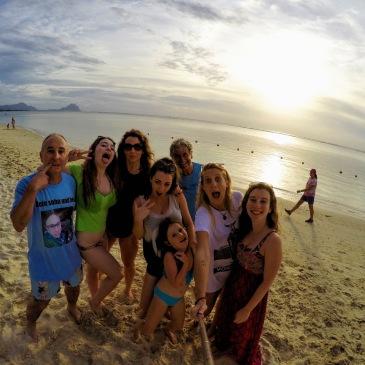 Family Photo Mauritius Sunset GoPro
